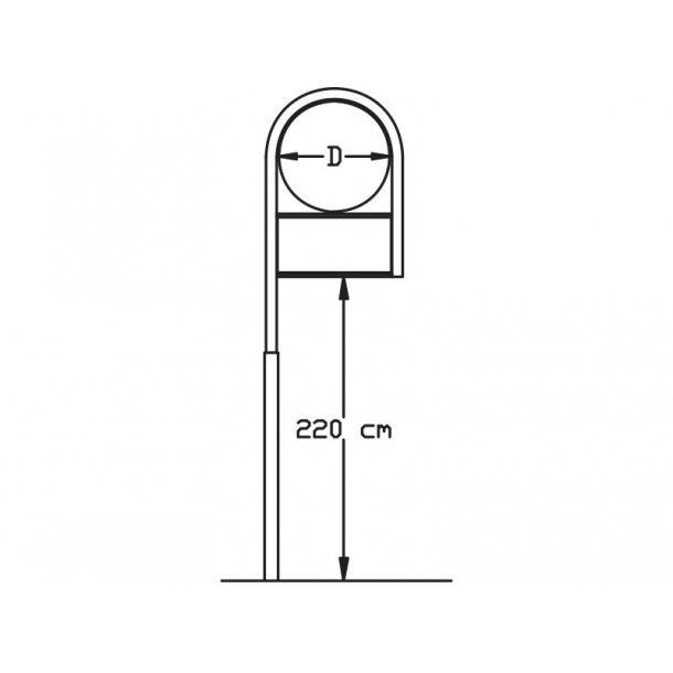 Buet stander med 1 ben - Ø50+25x50 cm