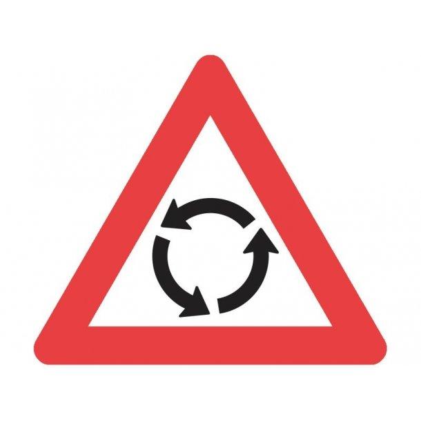 A16 vejskilt 90 cm. Rundkørsel advarselstavle